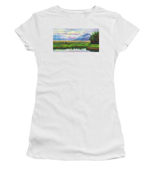 Nomad - Alaska Landscape With Joe Redington's Boat In Knik Alaska Women's T-Shirt