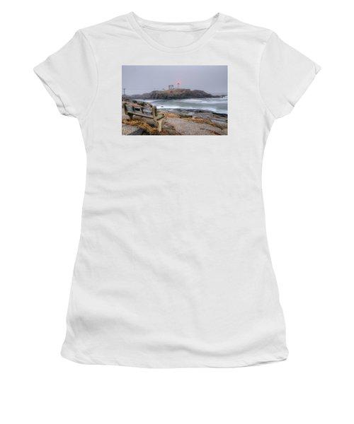 Nubble Lighthouse View Women's T-Shirt (Athletic Fit)