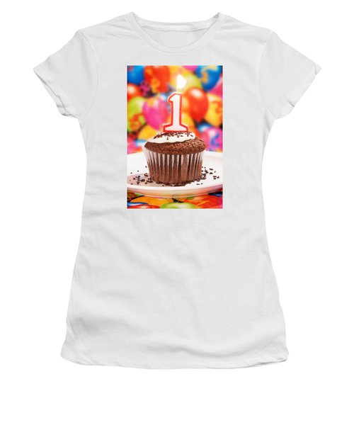 Women's T-Shirt (Junior Cut) featuring the photograph Chocolate Cupcake With One Burning Candle by Vizual Studio