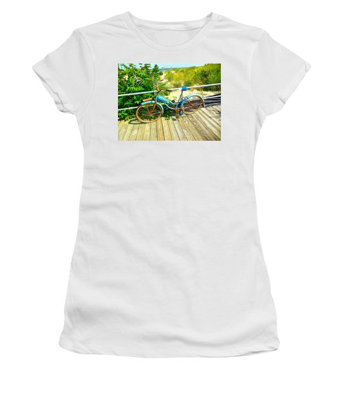 Women's T-Shirt (Junior Cut) featuring the photograph Ocean Grove Bike by Joan Reese
