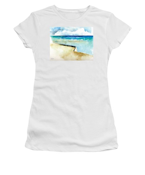 Ocean Pier In Key West Florida Women's T-Shirt (Junior Cut) by Catherine Twomey