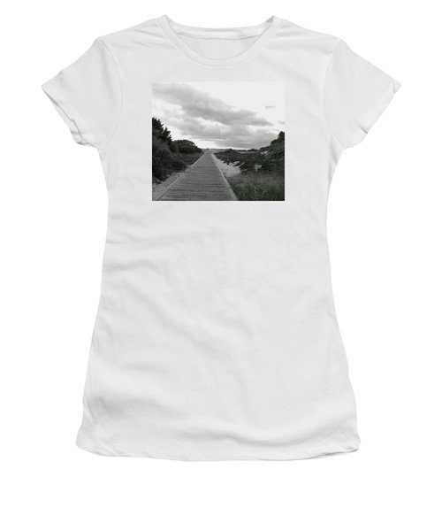 Women's T-Shirt (Junior Cut) featuring the photograph Ocean Walk Island Beach State Park New Jersey by Pamela Hyde Wilson