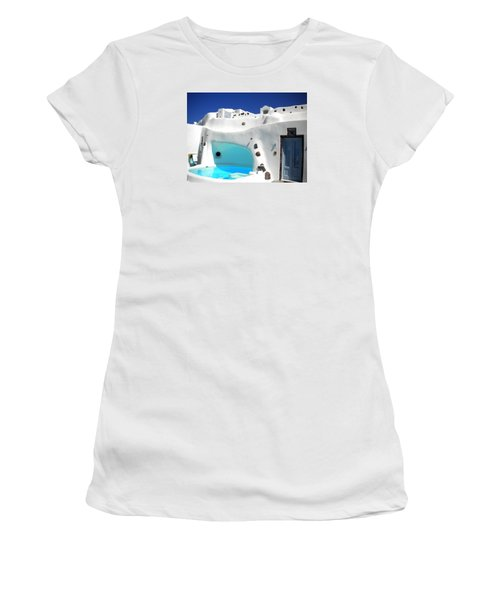Oia Santorini  With Direct View To The Oceon Greece Women's T-Shirt (Junior Cut) by Colette V Hera  Guggenheim