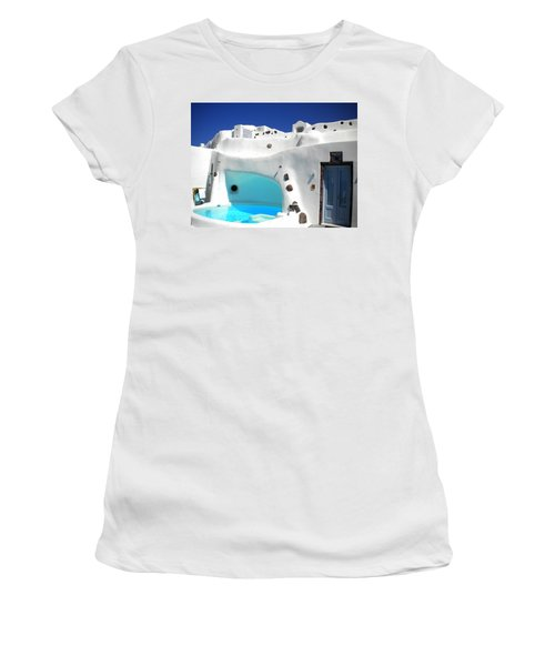 Oia Santorini  With Direct View To The Oceon Greece Women's T-Shirt