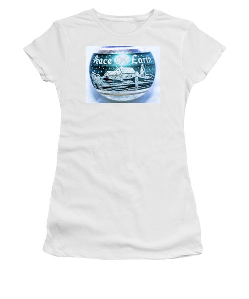 Women's T-Shirt (Junior Cut) featuring the photograph Christmas Tree Ornament Peace On Earth  by Vizual Studio