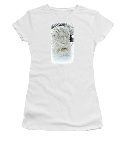 Old Man Winter Snow Sculpture Women's T-Shirt (Athletic Fit)