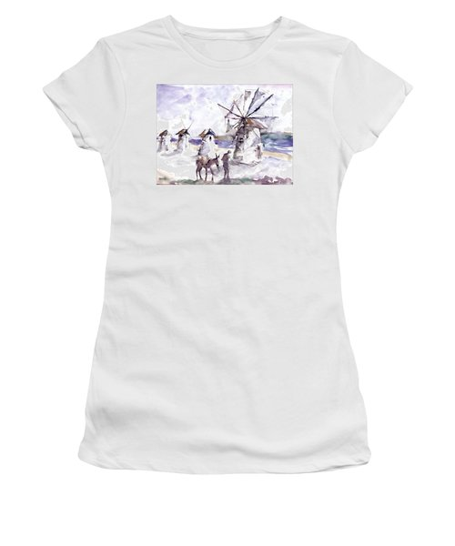 Women's T-Shirt (Junior Cut) featuring the painting Old Windmills At Bodrum by Faruk Koksal
