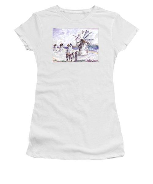 Old Windmills At Bodrum Women's T-Shirt (Junior Cut) by Faruk Koksal