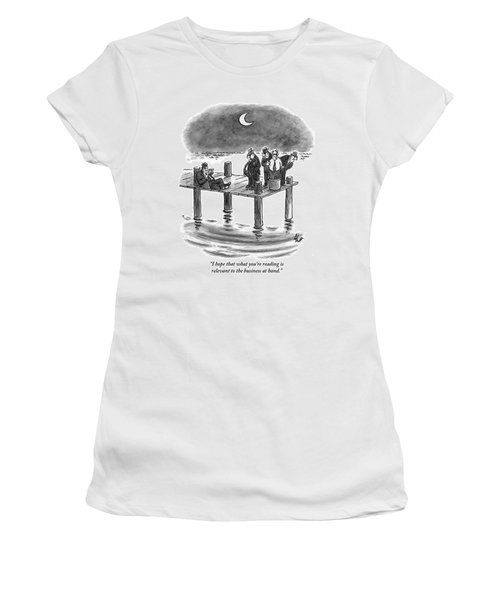 On A Pier, Three Mobsters Prepare To Drown Women's T-Shirt
