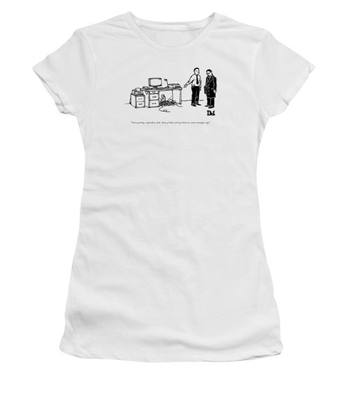 One Employee Shows Another A Desk Women's T-Shirt