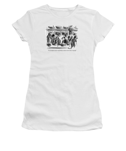 One Man Talks To Another At A Table In What Women's T-Shirt