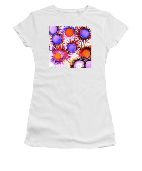 Orange And Purple Alcohol Inks Abstract Women's T-Shirt