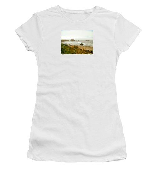Women's T-Shirt (Junior Cut) featuring the digital art Oregon Beach by Kenneth De Tore