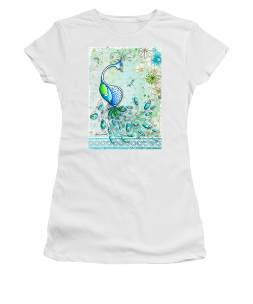 Original Peacock Painting Bird Art By Megan Duncanson Women's T-Shirt