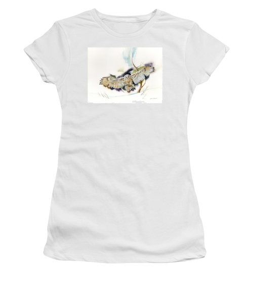 Women's T-Shirt (Junior Cut) featuring the painting Owl Catches Lunch by John Norman Stewart