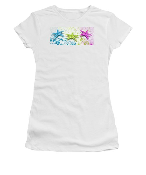 Paint Spattered Star Fish Women's T-Shirt (Athletic Fit)