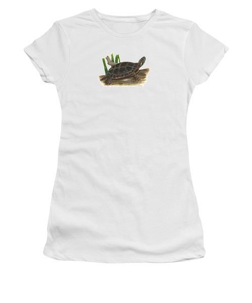 Painted Turtle Women's T-Shirt (Junior Cut) by Cindy Hitchcock