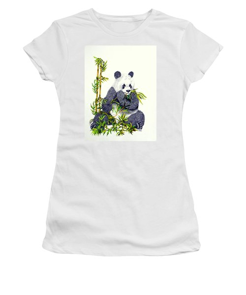 Women's T-Shirt (Junior Cut) featuring the drawing Panda  by Terri Mills