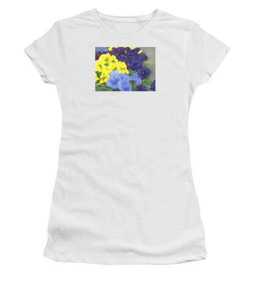 Pansy Garden Bright Colorful Flowers Painting Pansies Floral Art Artist K. Joann Russell Women's T-Shirt (Junior Cut) by Elizabeth Sawyer