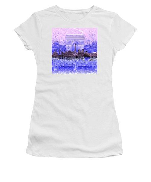 Paris Skyline Landmarks 7 Women's T-Shirt (Athletic Fit)