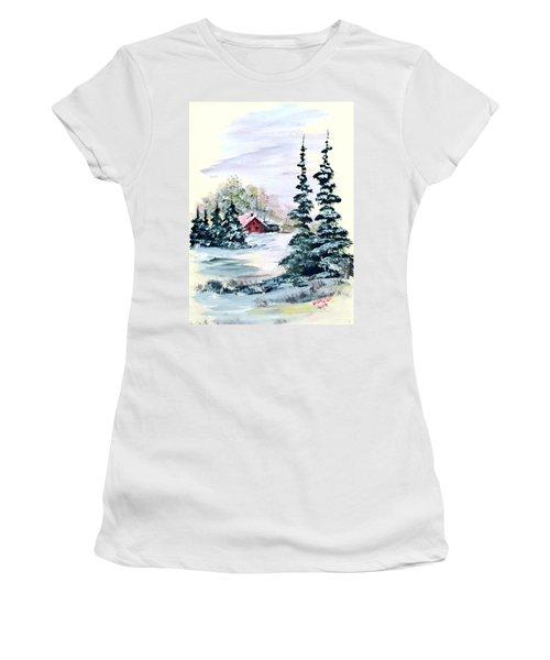Peaceful Winter Women's T-Shirt (Junior Cut) by Dorothy Maier