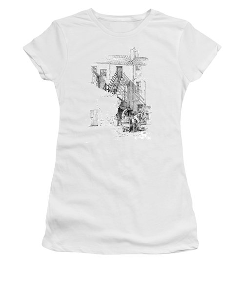 Women's T-Shirt (Junior Cut) featuring the drawing Peel Back Street by Paul Davenport