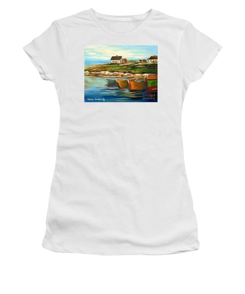 Peggys Cove With Fishing Boats Women's T-Shirt
