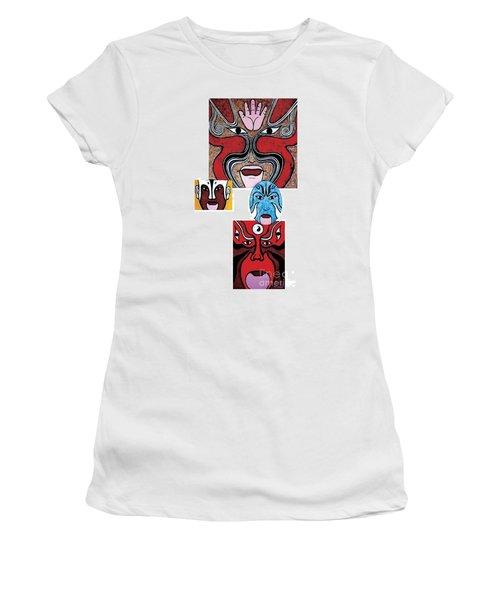 Women's T-Shirt (Junior Cut) featuring the painting Peking Opera No.1 by Fei A