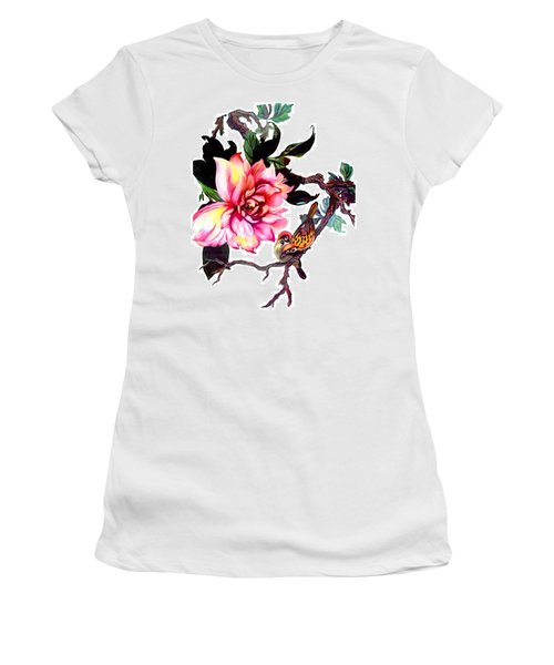 Peony And Birds Women's T-Shirt (Athletic Fit)