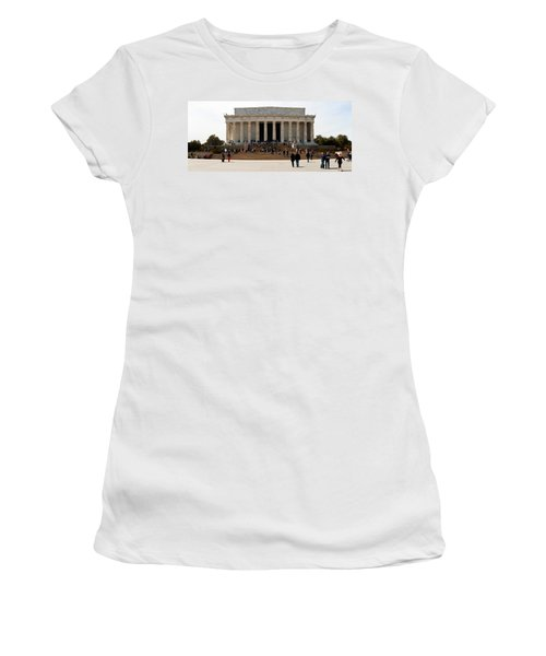 People At Lincoln Memorial, The Mall Women's T-Shirt (Junior Cut) by Panoramic Images