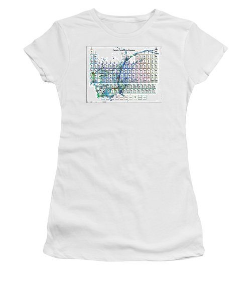 Periodic Table Colorful Liquid Splash Women's T-Shirt (Athletic Fit)