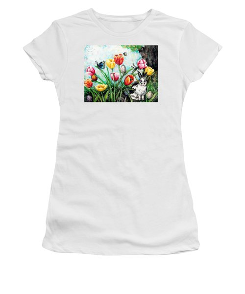 Women's T-Shirt (Junior Cut) featuring the painting Peters Easter Garden by Shana Rowe Jackson