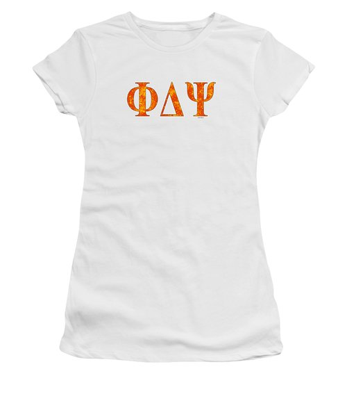 Phi Delta Psi - White Women's T-Shirt (Junior Cut) by Stephen Younts