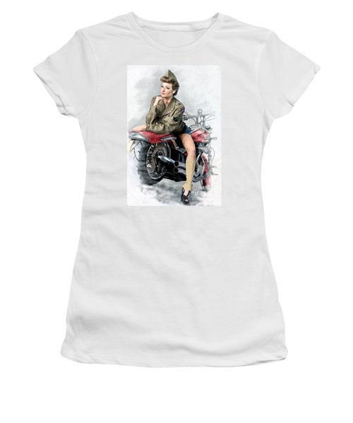 Pin-up Biker  Women's T-Shirt (Athletic Fit)