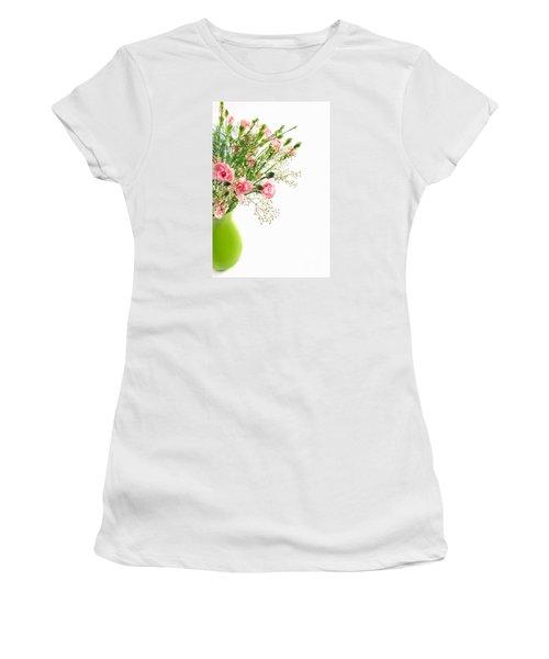 Pink Carnation Flowers Women's T-Shirt (Junior Cut) by Vizual Studio