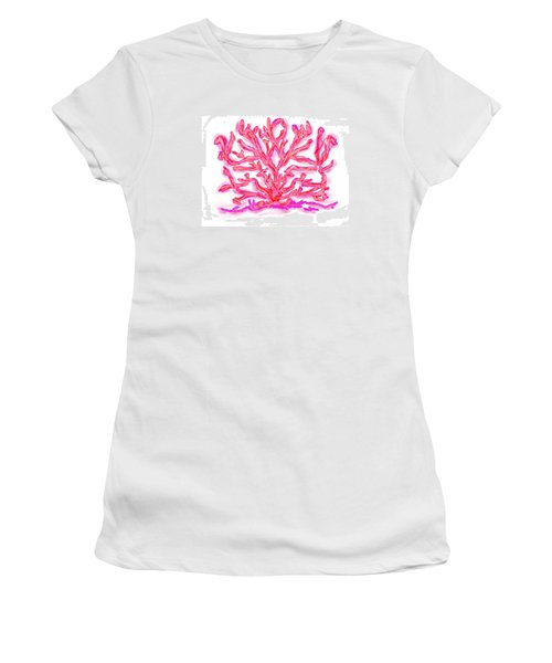 Women's T-Shirt (Junior Cut) featuring the digital art Pink Coral by Christine Fournier