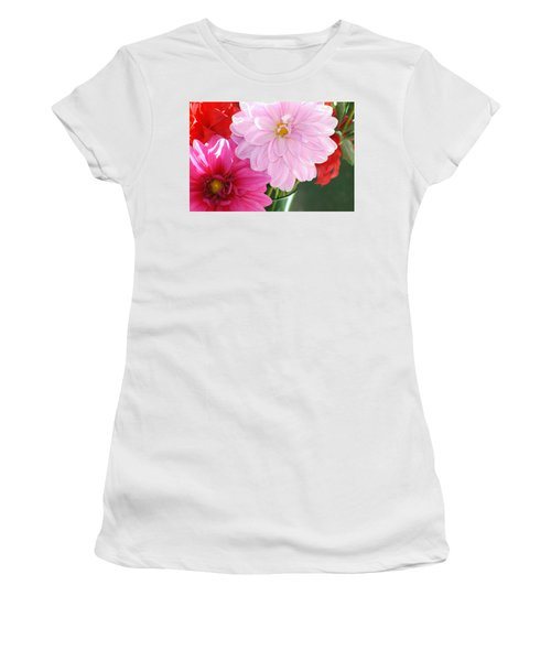 Pink Dahlias In The Morning Women's T-Shirt (Athletic Fit)