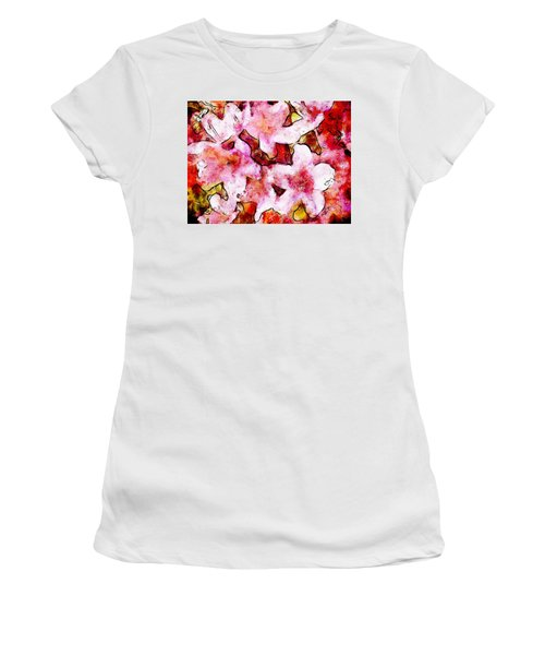 Women's T-Shirt (Junior Cut) featuring the painting Pink Flowers 2 by Greg Collins