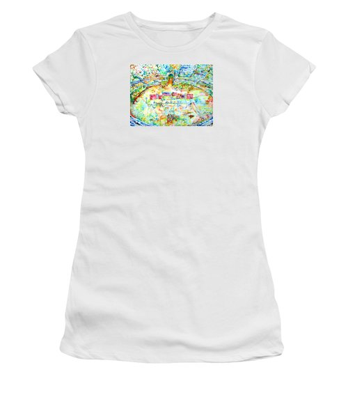 Pink Floyd Live At Pompeii Watercolor Painting Women's T-Shirt (Athletic Fit)