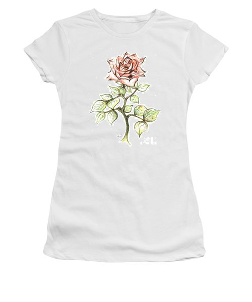 Pink Rose Women's T-Shirt (Junior Cut) by Teresa White