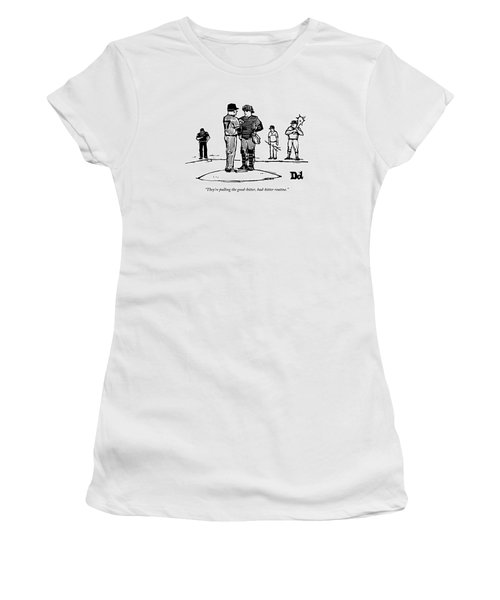 Pitcher And Catcher Stand On Pitcher's Mound Women's T-Shirt