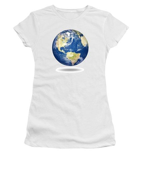 Planet Earth On White - America Women's T-Shirt
