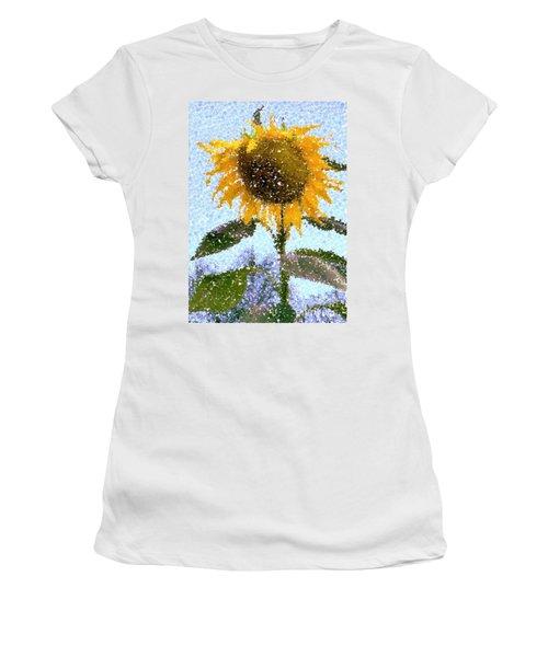 Pointillist Sunflower In Sun City Women's T-Shirt (Junior Cut) by Barbie Corbett-Newmin