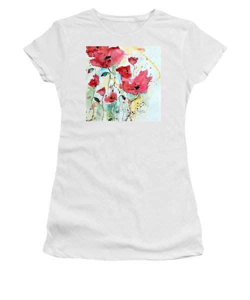 Women's T-Shirt (Junior Cut) featuring the painting Poppies 05 by Ismeta Gruenwald