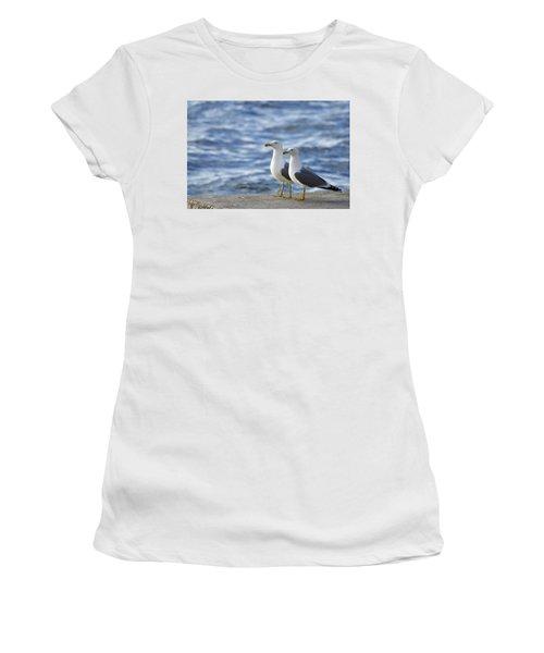 Posing Seagulls Women's T-Shirt (Athletic Fit)