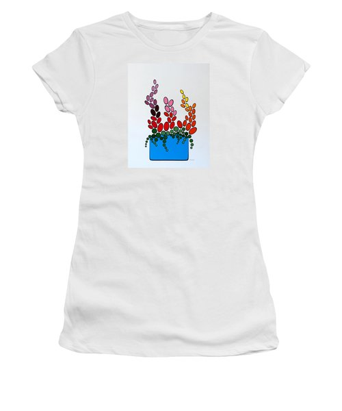 Potted Blooms - Blue Women's T-Shirt (Junior Cut) by Thomas Gronowski
