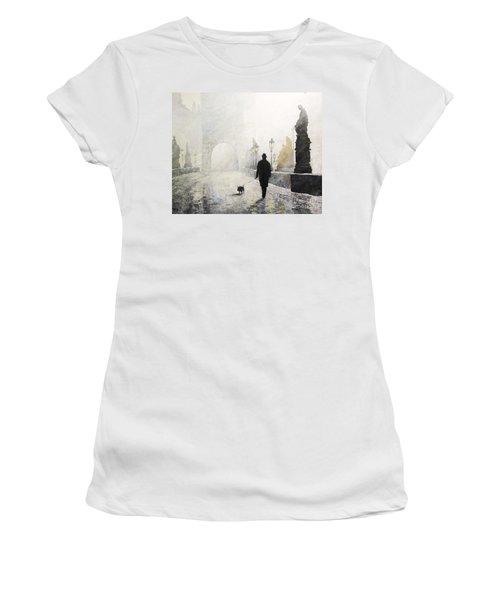 Prague Charles Bridge Morning Walk 01 Women's T-Shirt