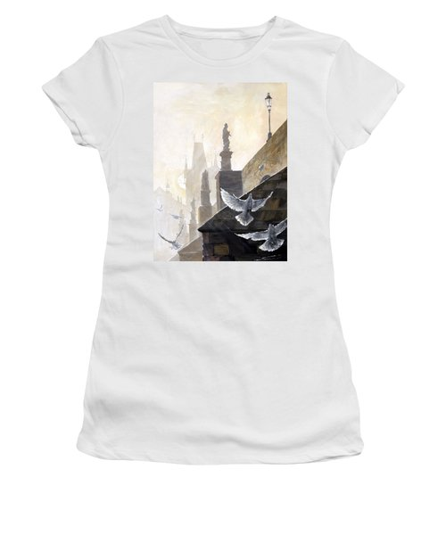 Prague Morning On The Charles Bridge  Women's T-Shirt (Athletic Fit)