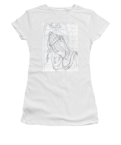 Praying Hands Women's T-Shirt (Athletic Fit)