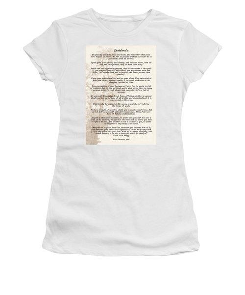 Prose Poem Desiderata By Max Ehrmann  Women's T-Shirt (Athletic Fit)
